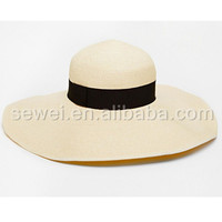 Classic Summer beach visor wide brim paper straw hat with ribbon