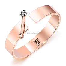 2017 fashion stainless steel jewelry 18k gold bangle cuff with diamond