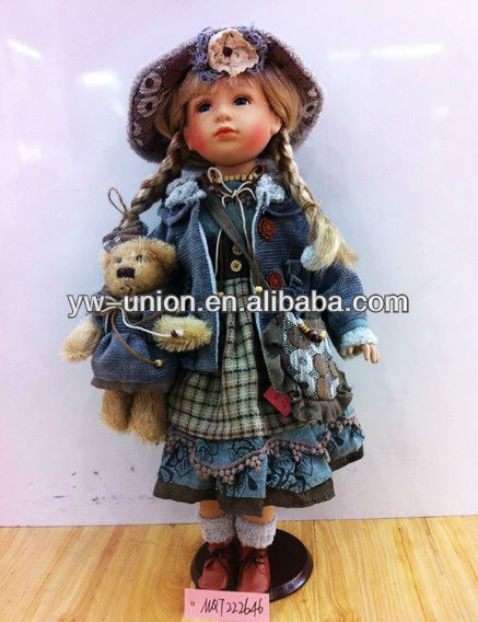 20inch Stand Russian Porcelain Country Girl Doll