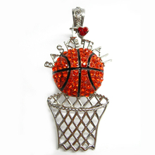 Wholesale Sport Theme Jewelry I Love Basketball Rhinestone Magnetic Clasp Charm Pendant