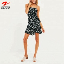 Latest fashion dress printed wrap front mini dress for women