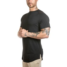 ATS304 Chinese OEM factory 100% cotton mens wholesale slim fit t shirt for men bodybuilding long line t shirt