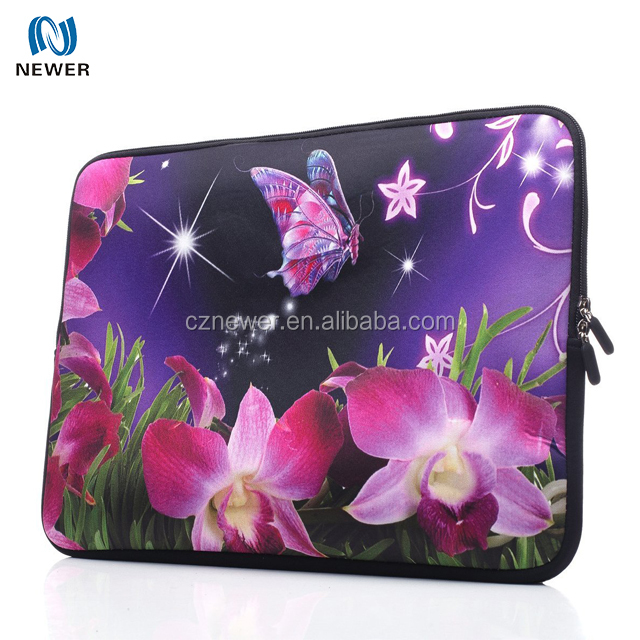 Fashionable Soft Neoprene Laptop Sleeve for 15'' Laptop with Double Zipper Fastener