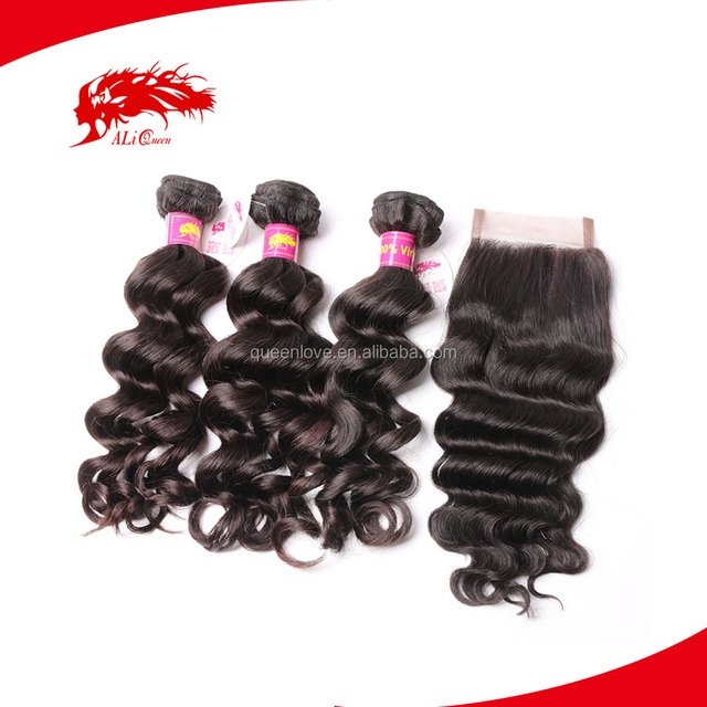 ALI Queen Retail 10A Best Quality Virgin Remy Natural Wavy Indian Hair Weft With Lace Closure