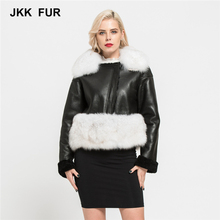 Genuine Sheepskin Leather Coat Long Sleeve Zipper Ladies Warm Outerwear Real Fox Fur Jacket