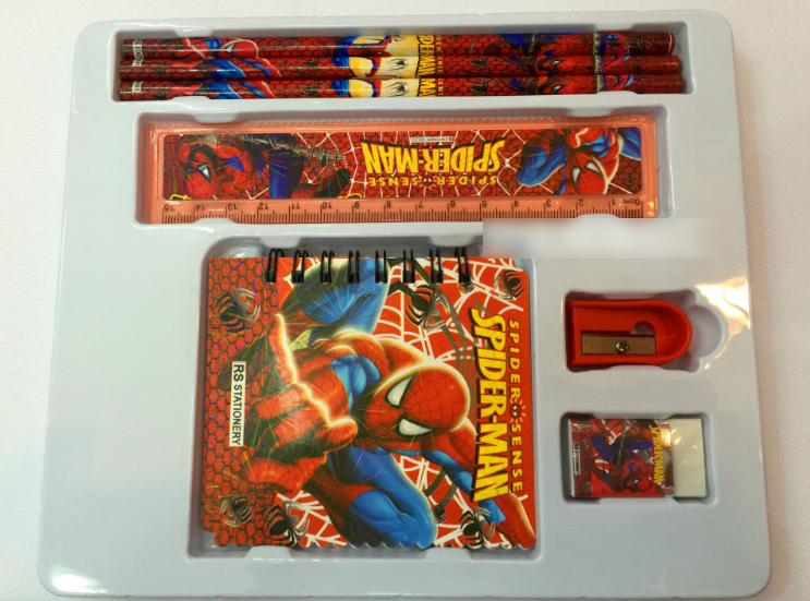 spider man stationery set ruler eraser little book pen children gifts