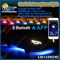 Led auto light new flexible multi color bluetooth app wifi control car led neon underbody lights