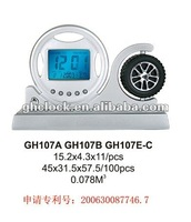2013 new time date display lcd digital alarm clock with tyre