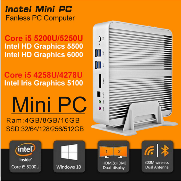 Hot 5th Gen Mini PC Intel Core i5 4258U thin client Computer Iris HD5100 Graphics Cheap CAD Photo.shop Office Work Mini Desktop