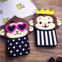 crown monkey 3d silicon phone case for mobile phone case