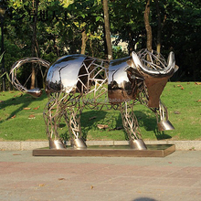 golden color stainless steel abstract bull statue for gaden ornaments