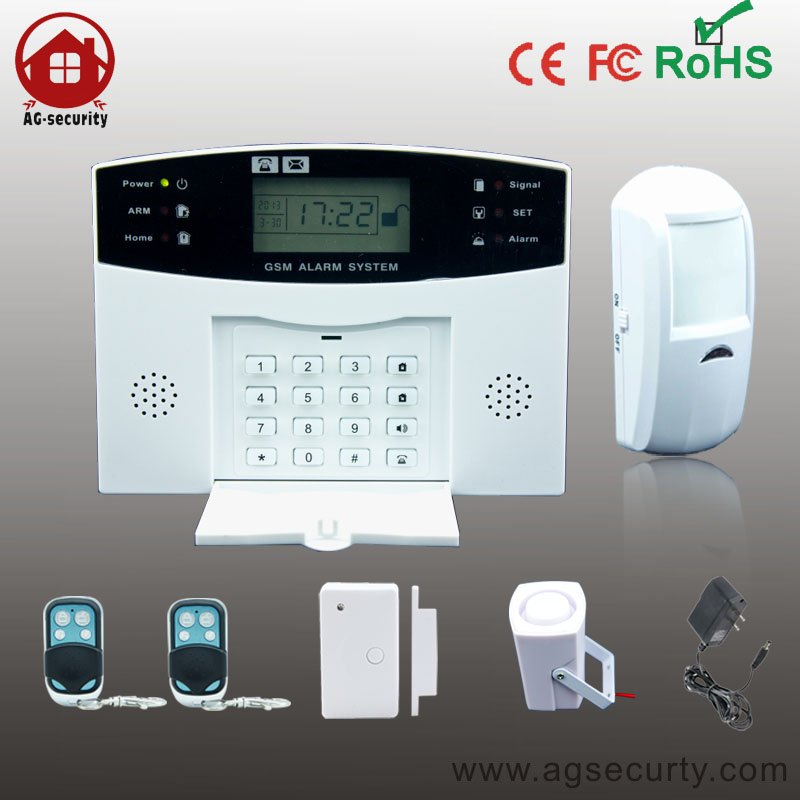 wireless home security gsm alarm system with LCD screen