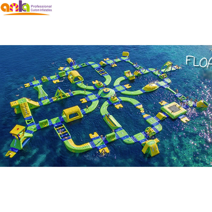 Custom made commercial aqua amusement games floating giant inflatable water park for adults