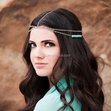 Factory Wholesale Jewelry Head Chain Turquoise Bridal Wedding Hair Accessories