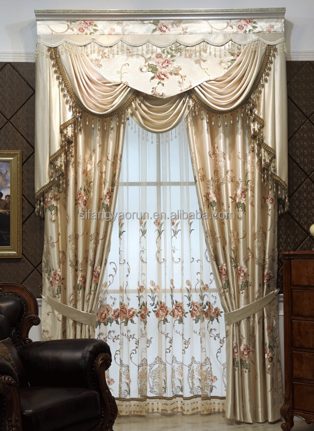 Jacquard elegant window curtain with simple valance