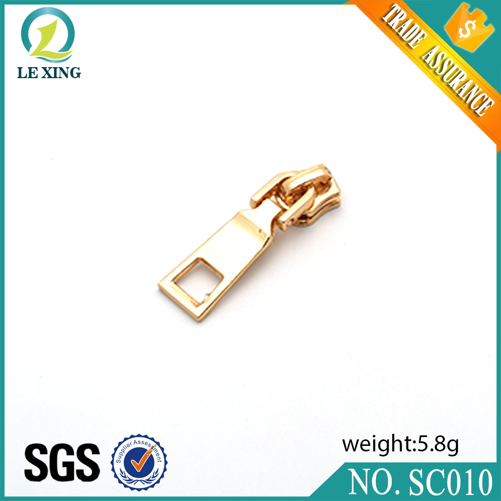 Hot selling high end handbags accessories wholesale metal luggage zipper slider pull in stock