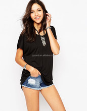 Trendy design custom wholesale plain black women loosely t shirt