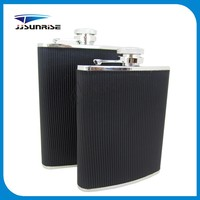 6oz Black Stripe Leather Stainless Steel Hip Flask