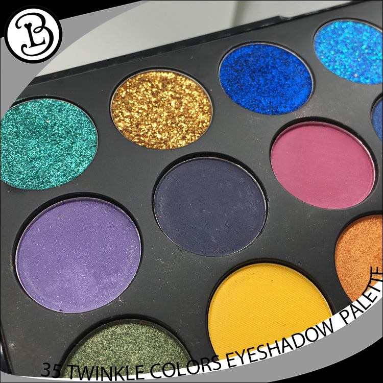 35 colors pigment powder pressed private label glitter eyeshadow palette
