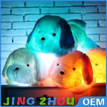 Good quality dog animal plush night light toys glow in the dark plush toy with light