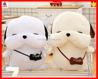 Factory custom white plush dog toy wearing small bag