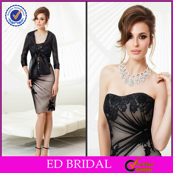 2014 Formal Black Knee Length Sweetheart Lace Appliqued Mother Of The Bride Jacket Dresses