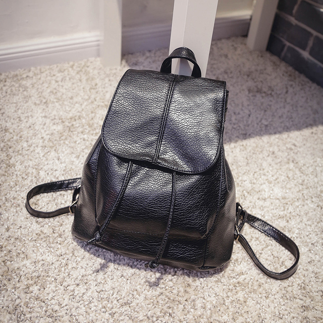 2016 New Brand Fashion Women PU Leather Backpacks Waterproof Ladies Cute Small School Backpacks for Girls Kids Black Color