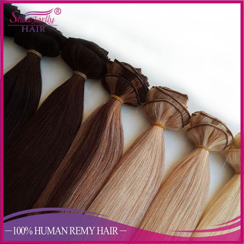 Russian hair 100% virgin hair without silicon double weft clip in human hair extensions ombre p clolor