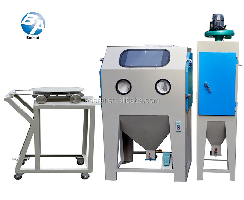 Sand blasting and painting equipments with trolley and turntable for surface cleaning