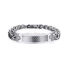 Mens Hip Hop Stainless Steel Curved Plaid Tag Chain Bracelet With Buckle Motorcycle Chain Bracelet