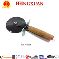 Custom Logo wooden handle round pizza cutter
