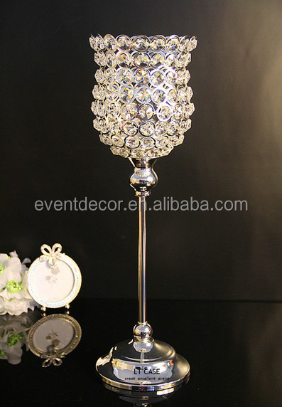 Wine bottle wedding crystal beaded candle holder for wedding decoration hot sale