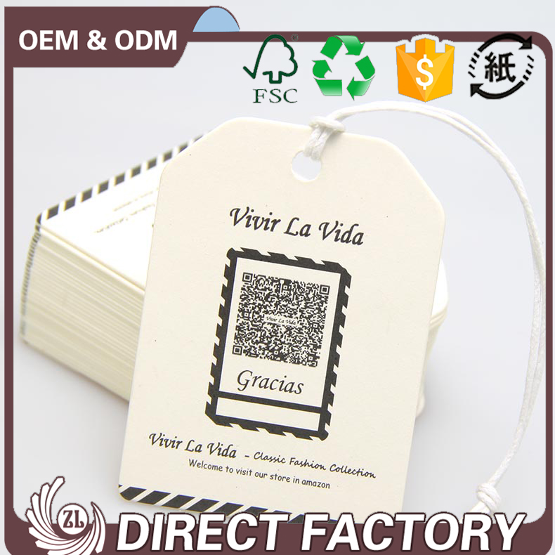 china factory custom printed paper hang tag design garment for clothing tag /bag /shoe