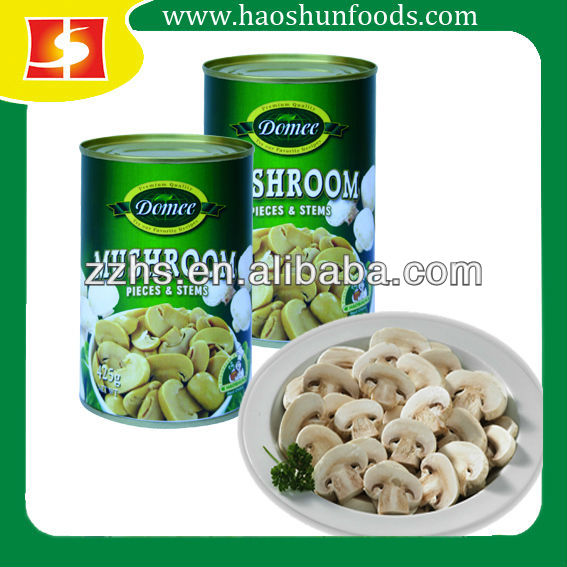 Domee Brand 425g Canned Mushrooms Pieces and Stems in Brine