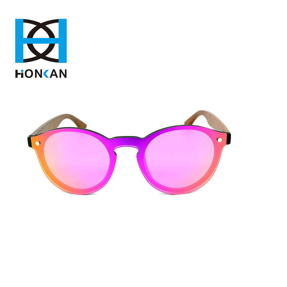 Nylon frame handmade wooden temple one piece lens sunglasses