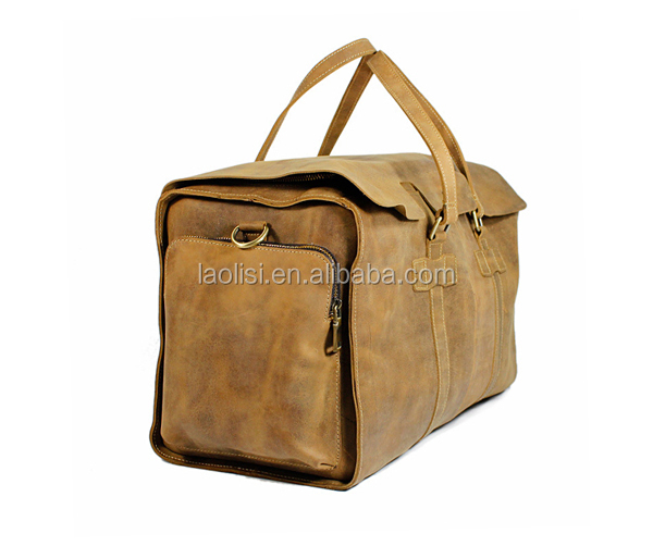 Custom private label leather travel bag price foldable travel bag with pockets