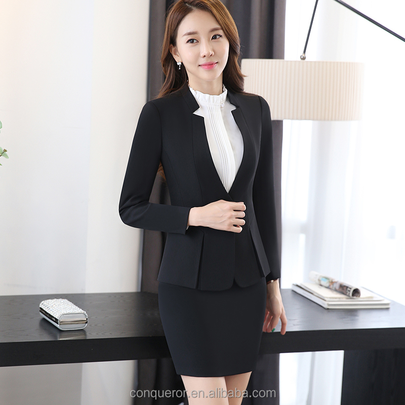 fashionable office lady's notch lapel uniform