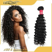 Unprocessed deep wave 100% virgin brazilian hair buy hot heads hair extensions
