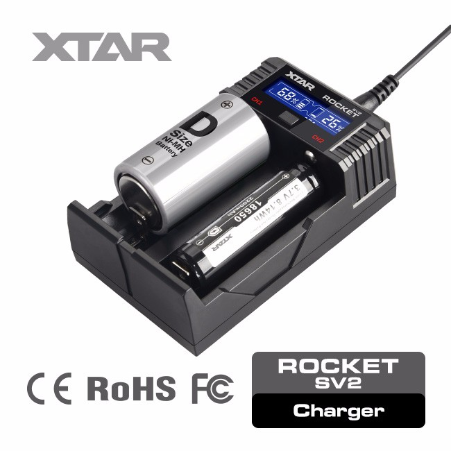 XTAR SV2 portable lithium ion battery charger microchip for programming