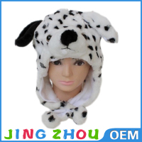 plush animal hat scarf glove/wholesale fur hat animal ears/animal shaped plush hat