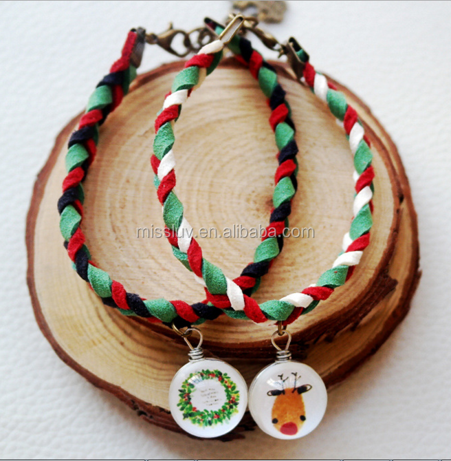 glass ball Christmas charm leather woven bracelets jewelry customized Christmas bracelets jewelry 2017 Christmas gifts
