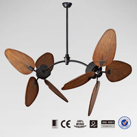 Real wood blade double ceiling fan with remote control