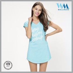 High Quality OEM cotton tshirt comfortable woman dress printed pyjamas