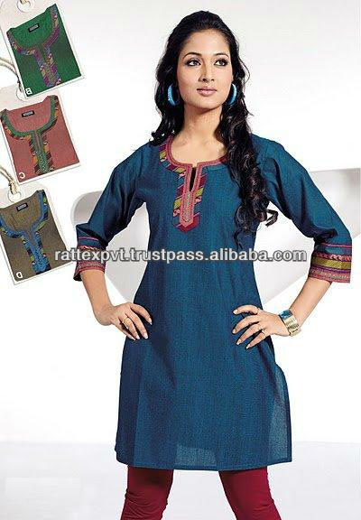 Light Navy Blue Color Unique Casual Collar Design Embroidery Work Tunic 2016