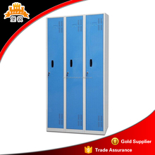 Factory manufacturing KD structure 3-door metal cloakroom college locker hanging clothes cabinet