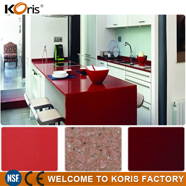 Prefabricated new solid Surface red marble countertop