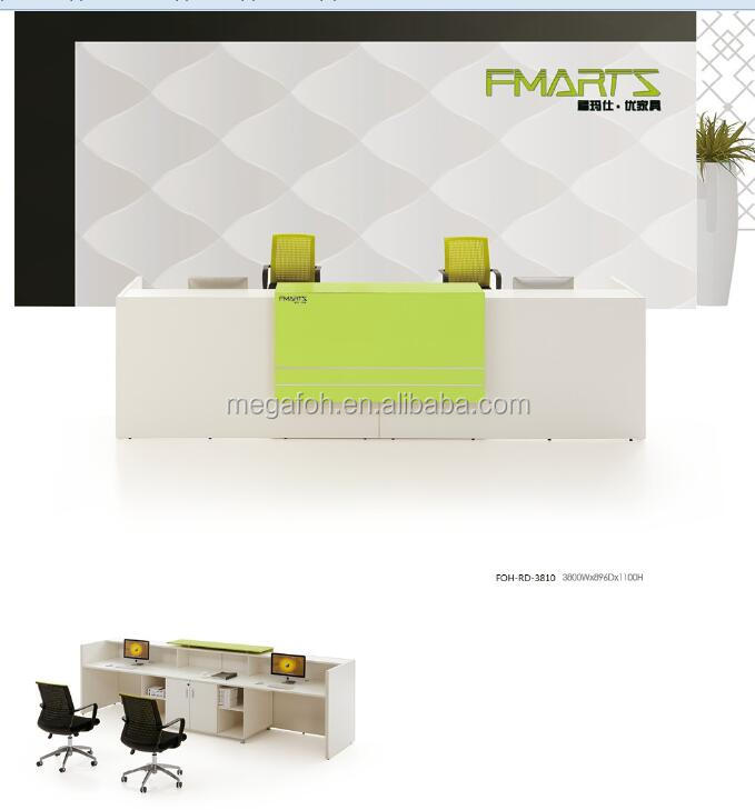 Contemporary Modern White Reception Counter Table Design for office /shop (FOH-RD-3810)