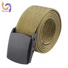 Fashion Pattern Nylon Webbing Canvas Belt, Outdoor Hiking Woven Belt, Sport Belt with Plastic buckle