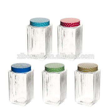 1000ml Square Clear Glass Storage Jar with Custom Printed Metal Cap