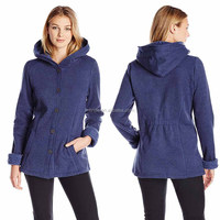 Women Casual Coat Winter Oversized Buttons Wooly Sherpa Feece Lining Women Hooded Mature Coat